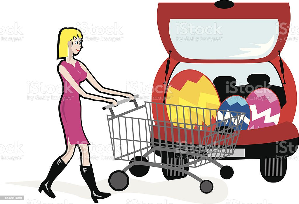Shopping Easter Girl Car royalty-free stock vector art
