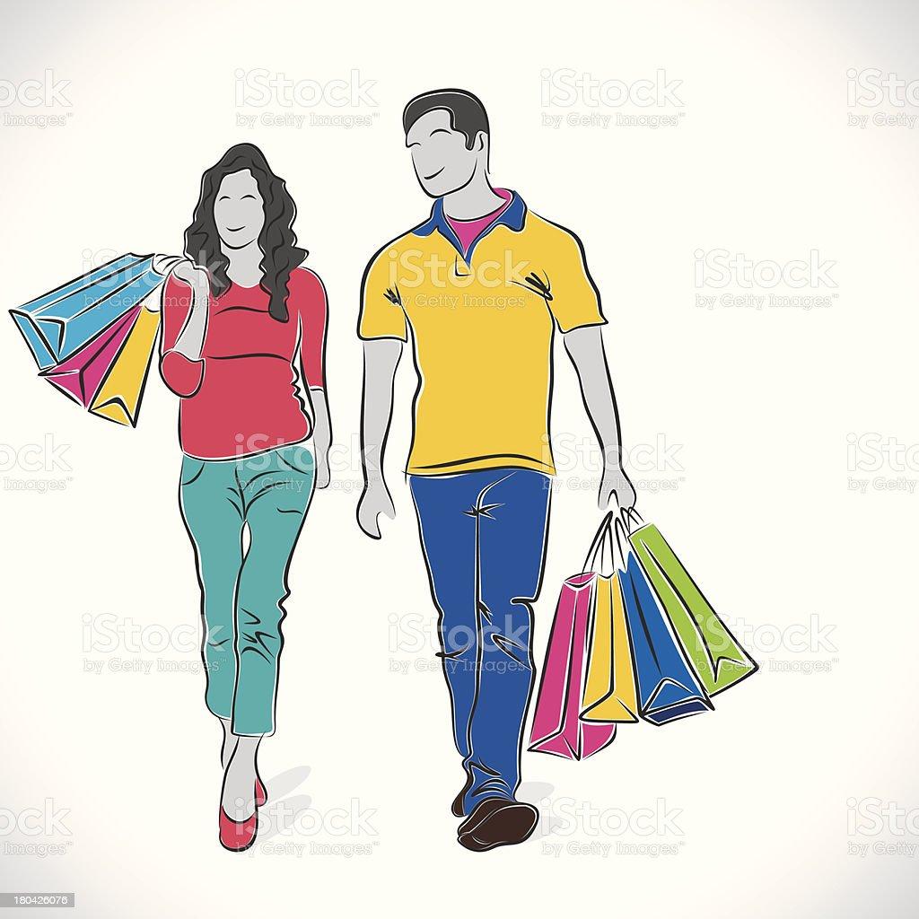 shopping family royalty-free stock vector art
