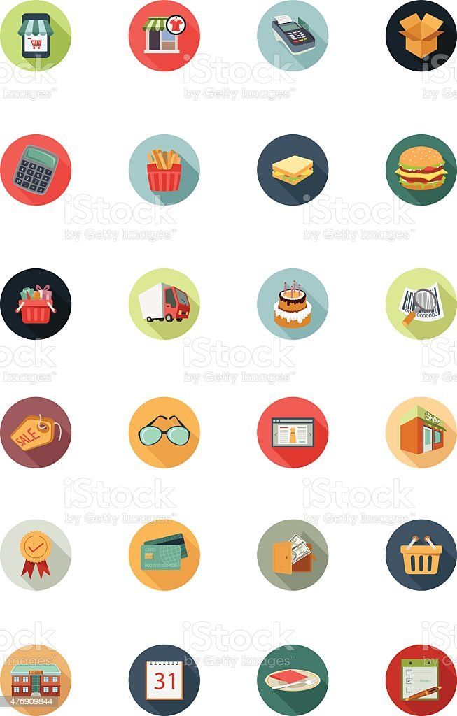 Shopping Flat Colored Icons 1 vector art illustration