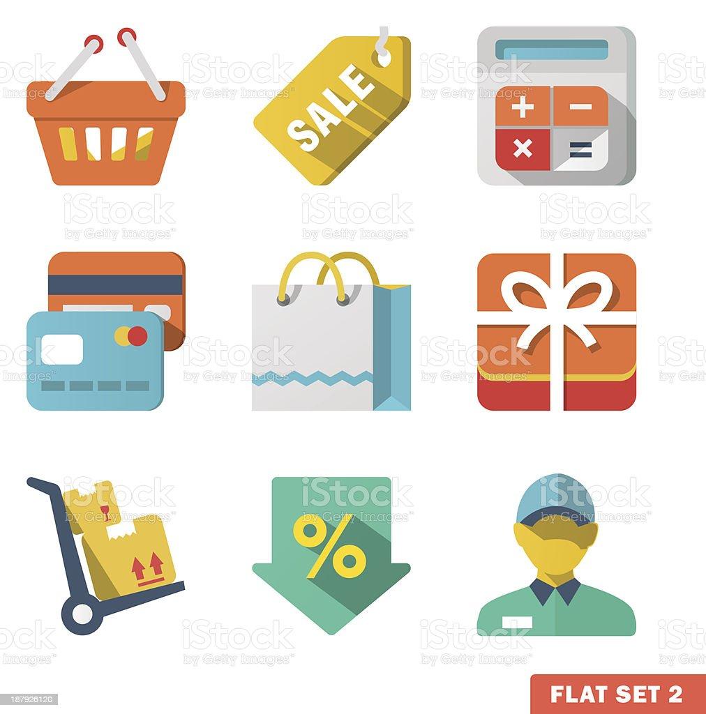 Shopping Flat icon set royalty-free stock vector art