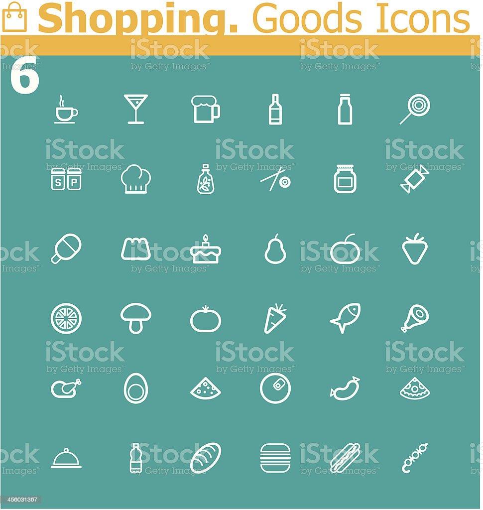 Shopping. Food icon set royalty-free stock vector art