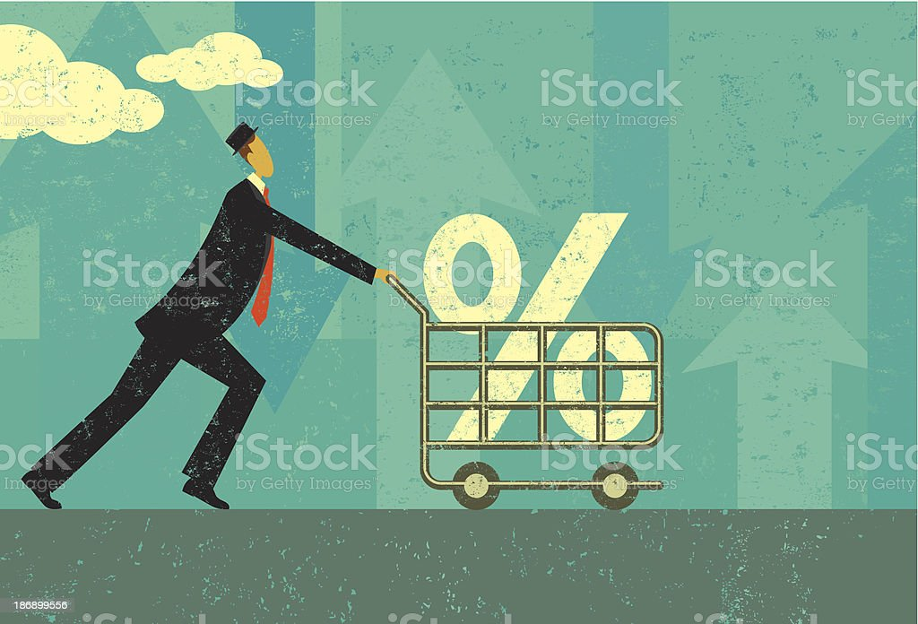Shopping for a good interest rate vector art illustration