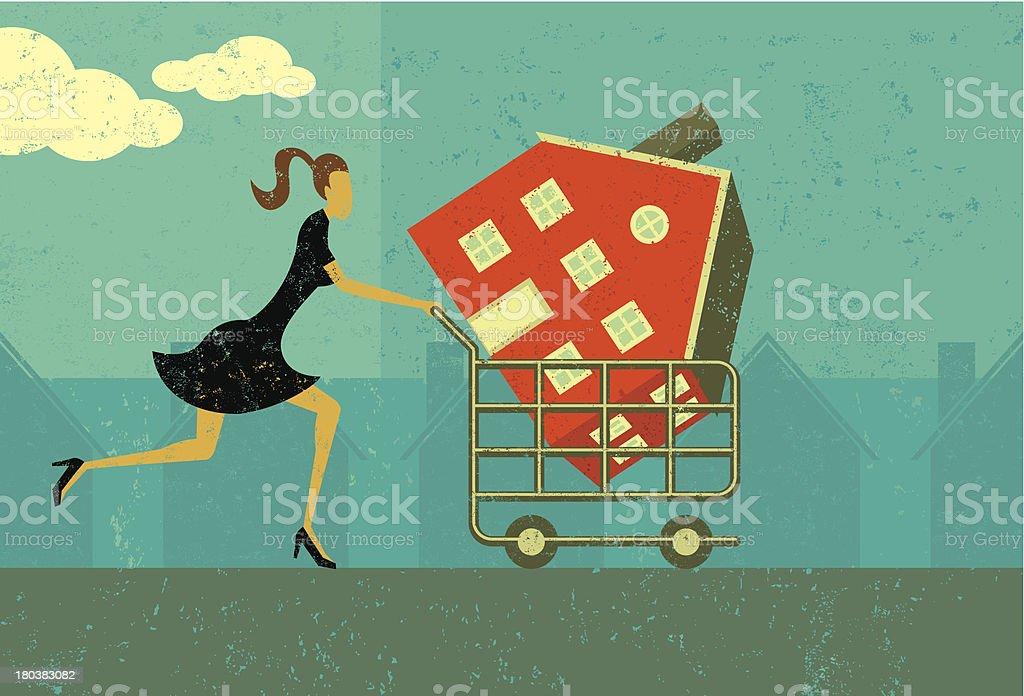 Shopping for a home vector art illustration