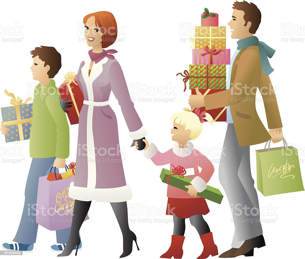 Shopping for christmas presents royalty-free stock vector art