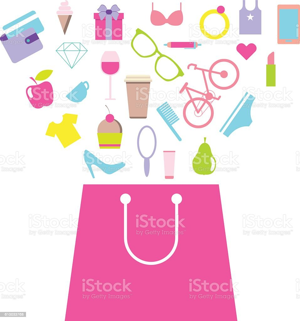 Shopping for women, female purchases. Bag with consumer goods vector art illustration