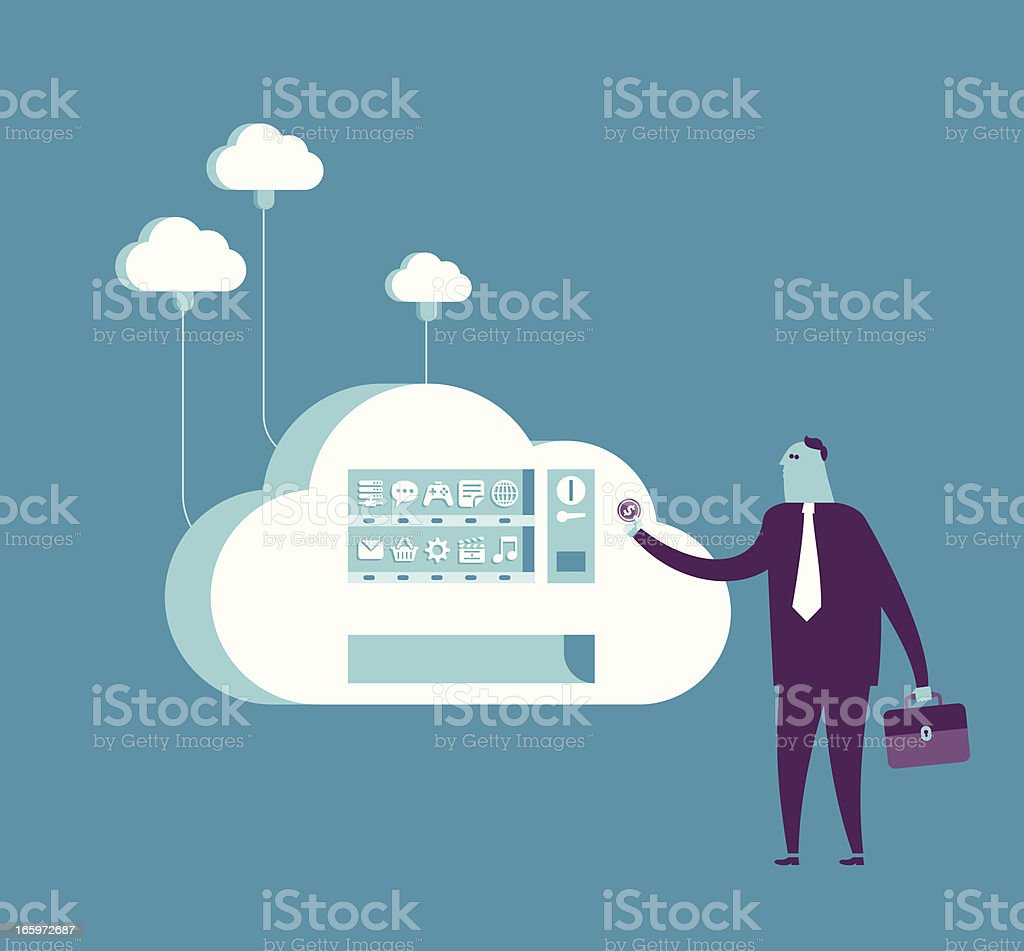 Shopping from cloud vending machine vector art illustration