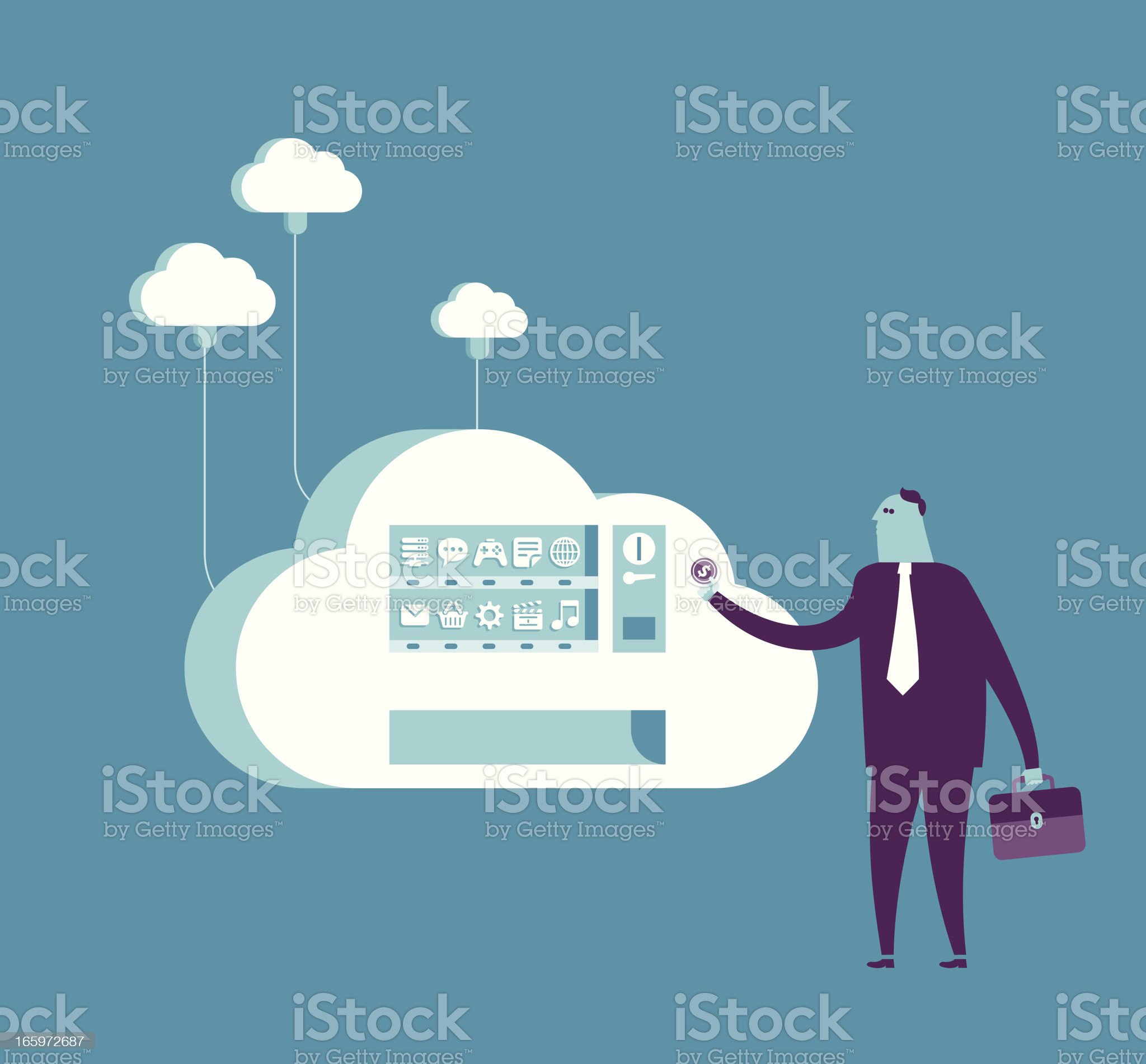Shopping from cloud vending machine royalty-free stock vector art