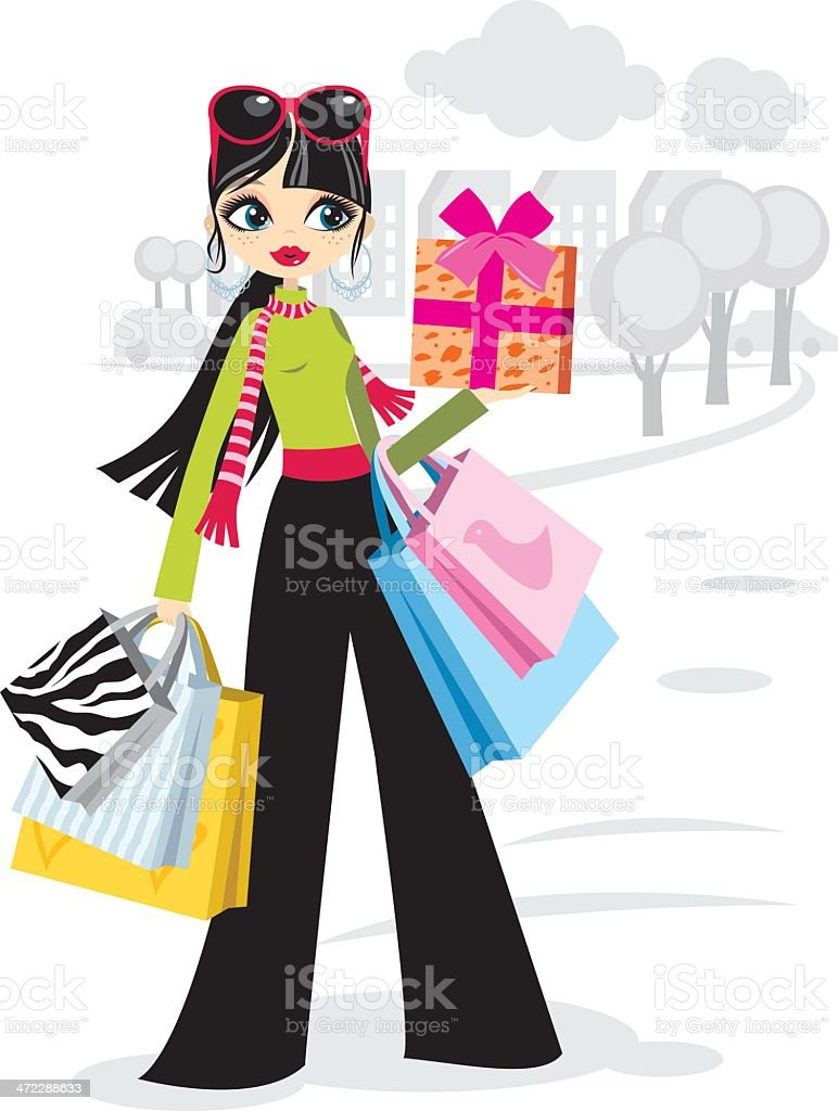 Shopping girl in black pants royalty-free stock vector art