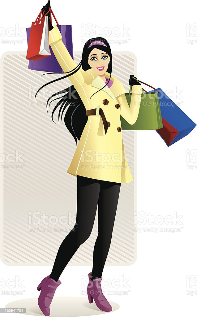 Shopping Girl in Yellow royalty-free stock vector art