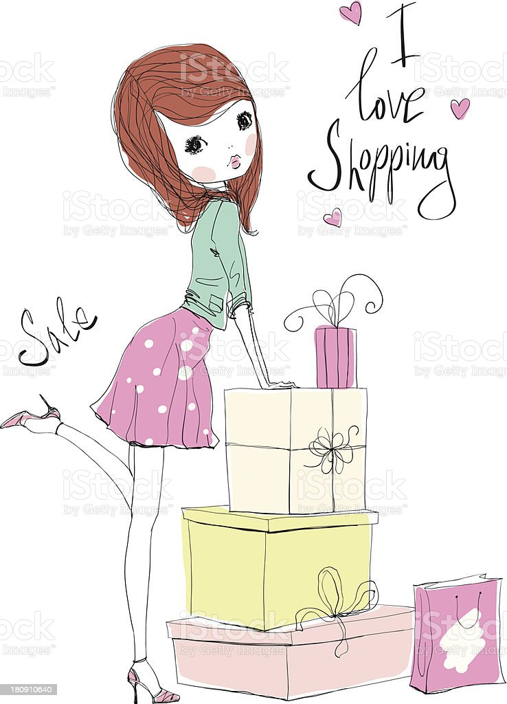 shopping girl royalty-free stock vector art