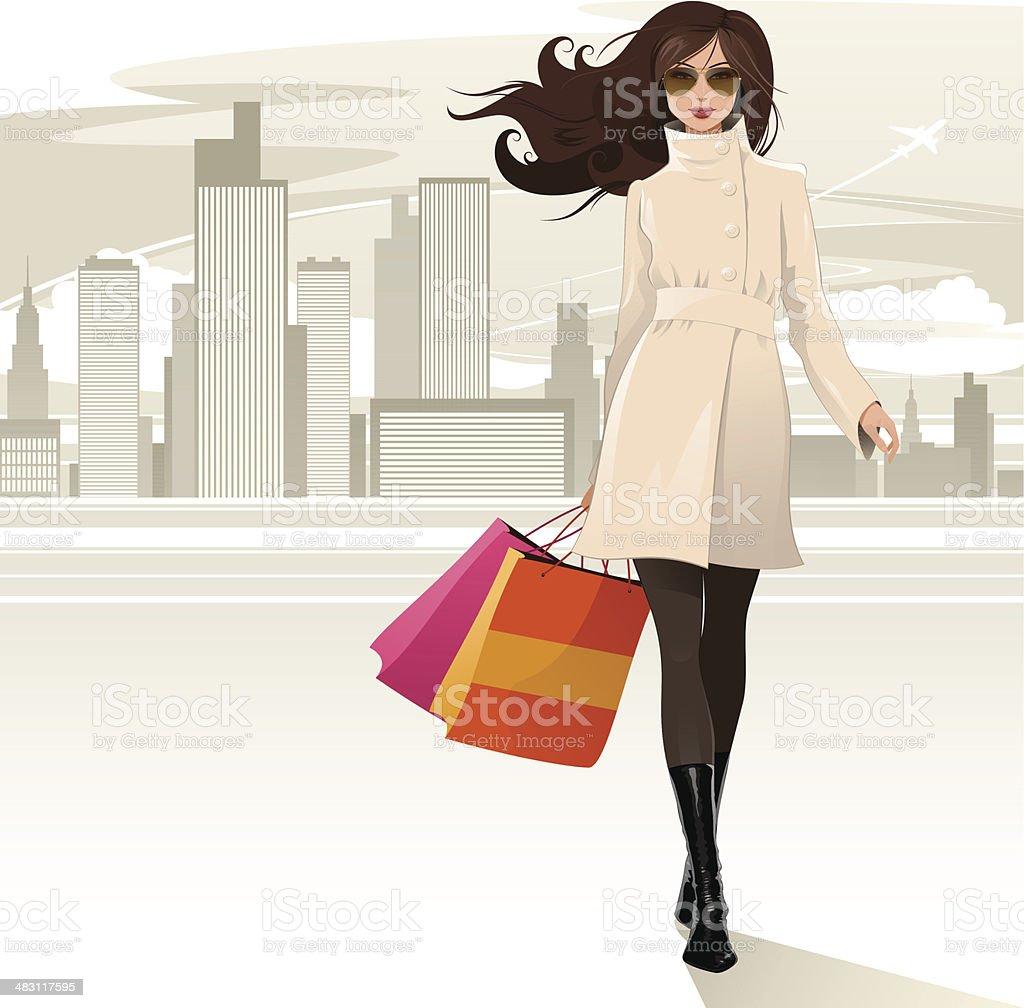 Shopping girl vector art illustration