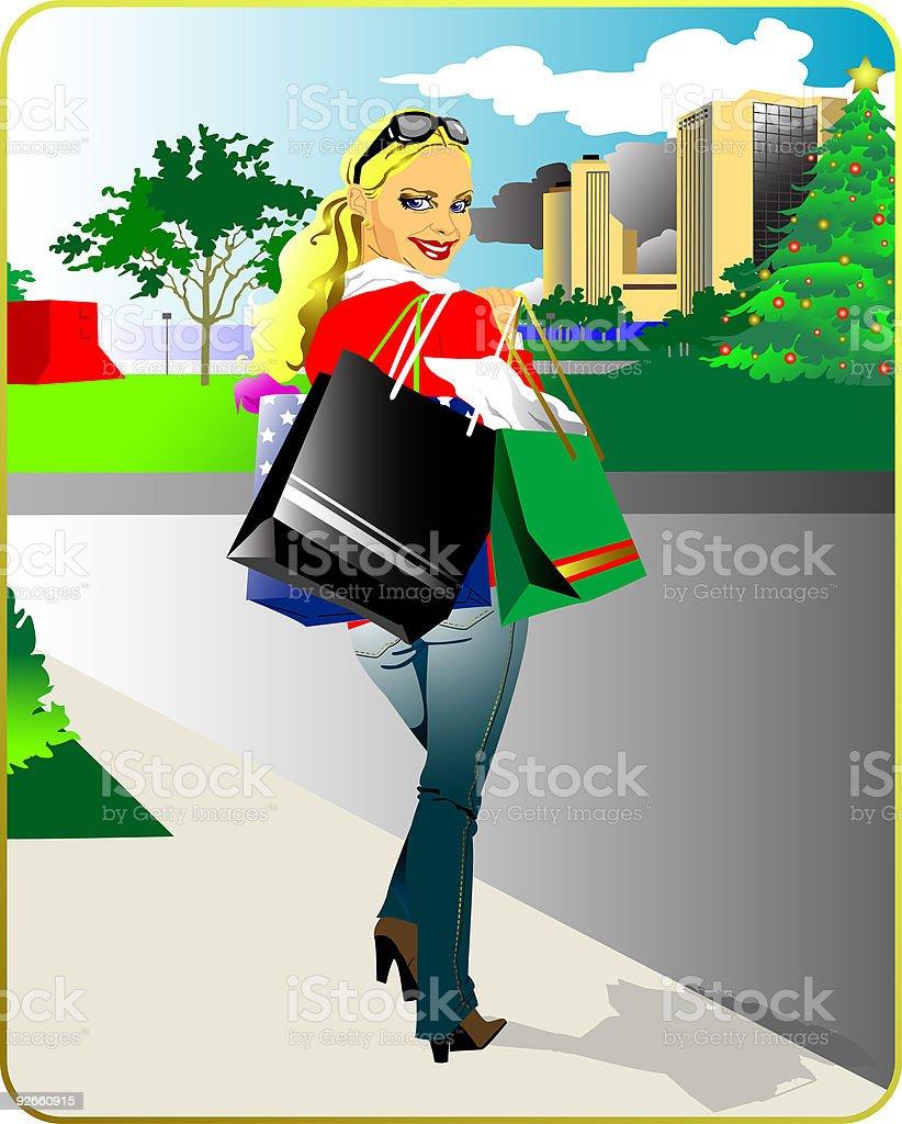 shopping girl royalty-free stock vector art