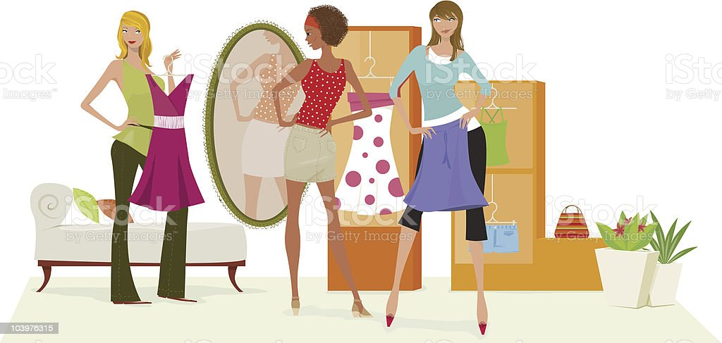 Shopping girls vector art illustration