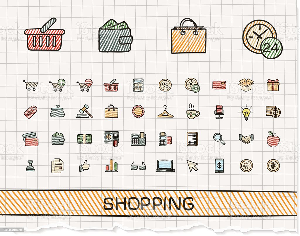 Shopping hand drawing line icons. Vector doodle pictogram set vector art illustration