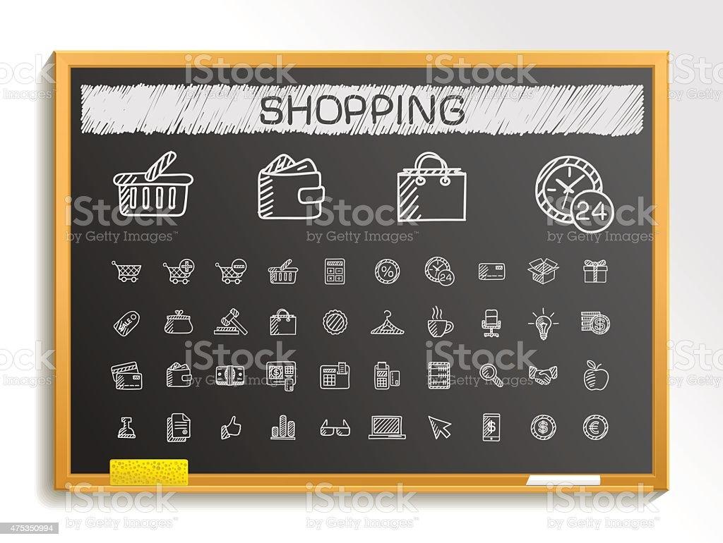Shopping hand drawing sketch icons set. Vector doodle blackboard illustration vector art illustration