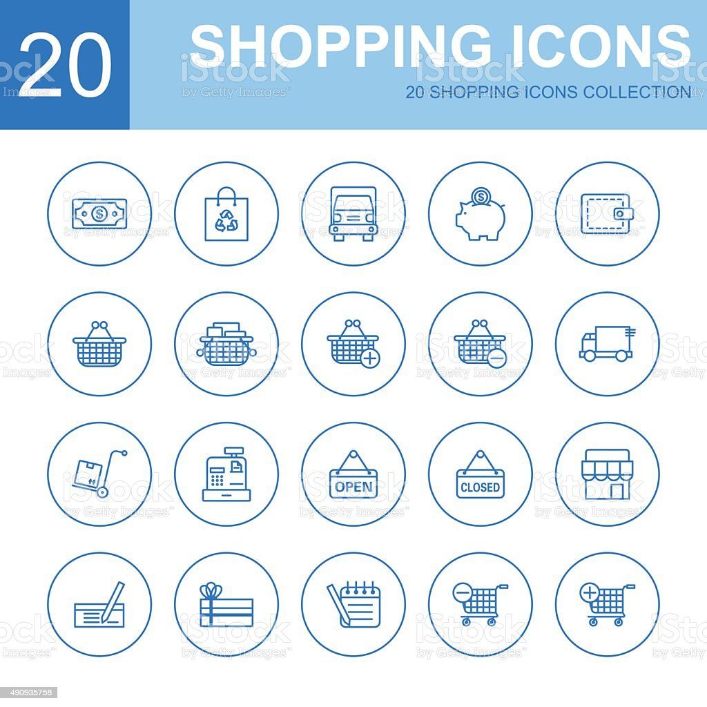 shopping icons collection vector art illustration
