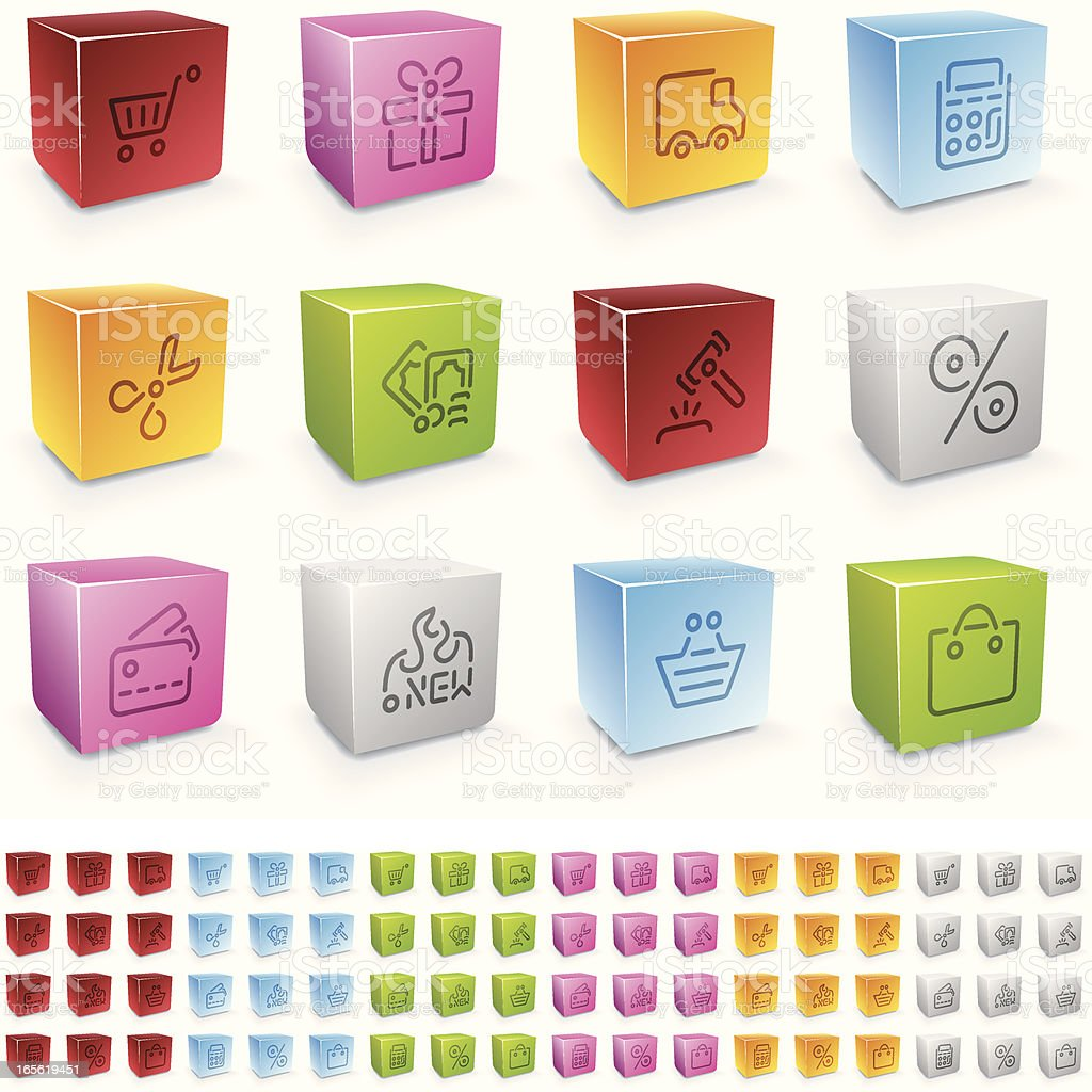 shopping icons - colores cubo series royalty-free stock vector art