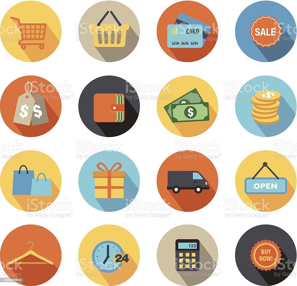 Shopping Icons Flat Design vector art illustration