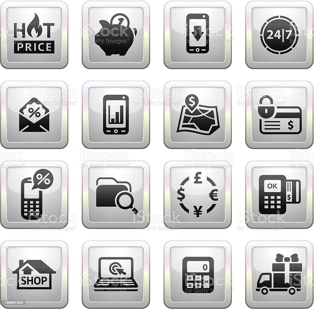 Shopping Icons. Gray royalty-free stock vector art