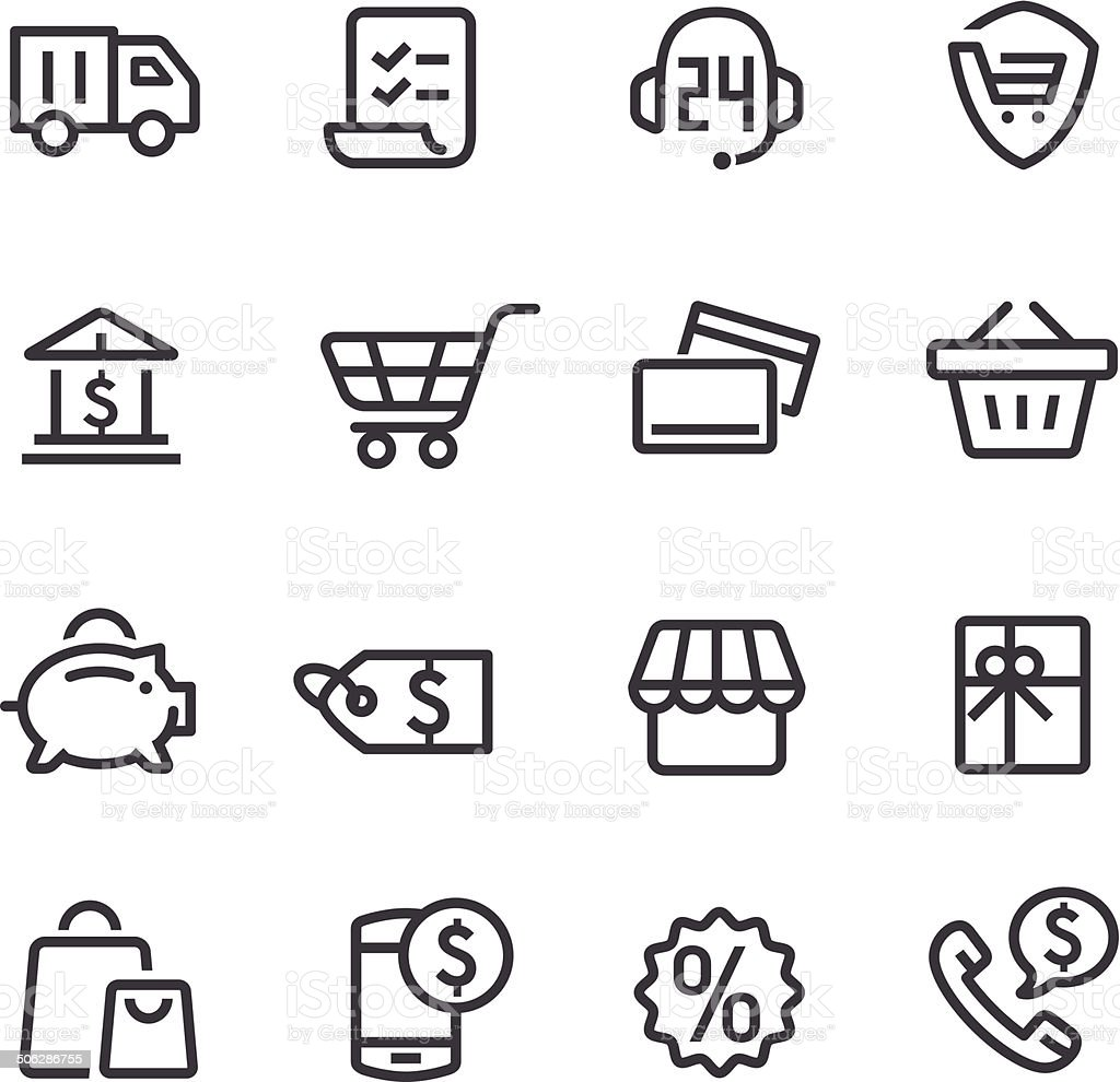 Shopping Icons - Line Series vector art illustration