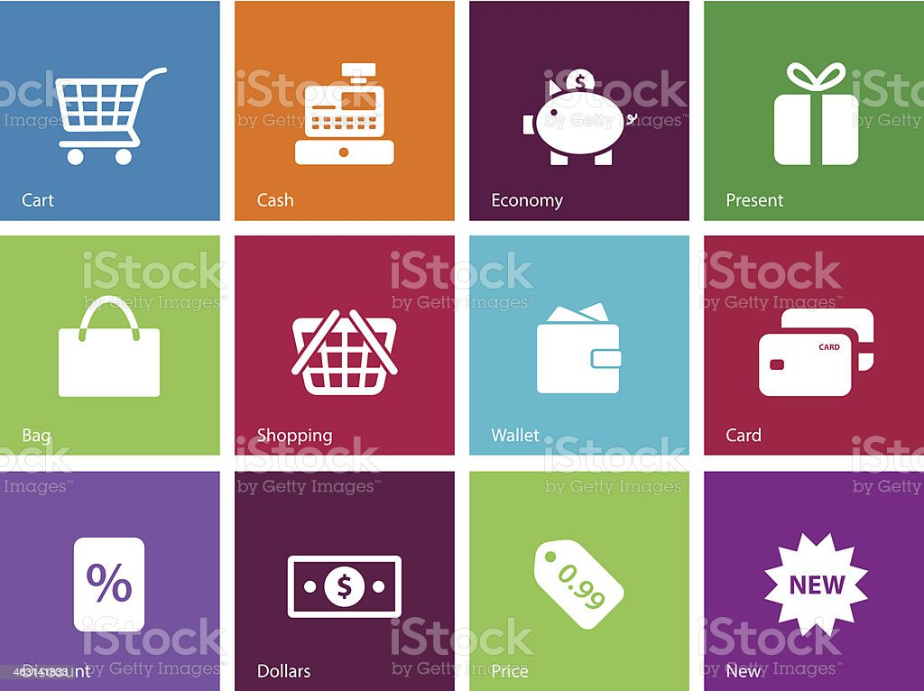 Shopping icons on color background. royalty-free stock vector art