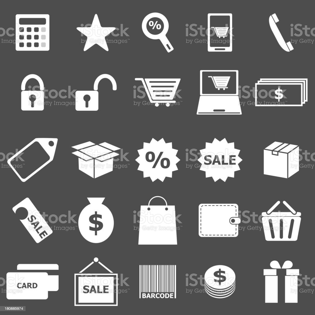 Shopping icons on gray background royalty-free stock vector art
