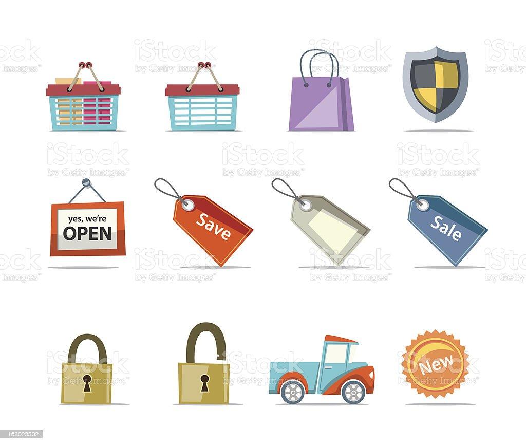 Shopping Icons - Retro Collection Set 9 royalty-free stock vector art