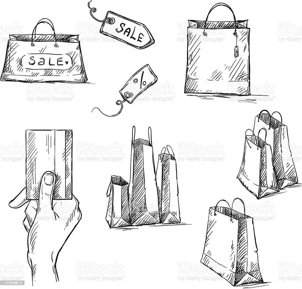 Shopping icons, sale tag, paper bags drawing vector art illustration