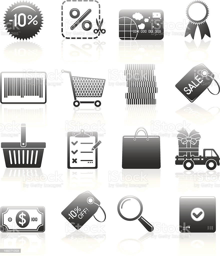 Shopping Icons Set Silhouette Series royalty-free stock vector art