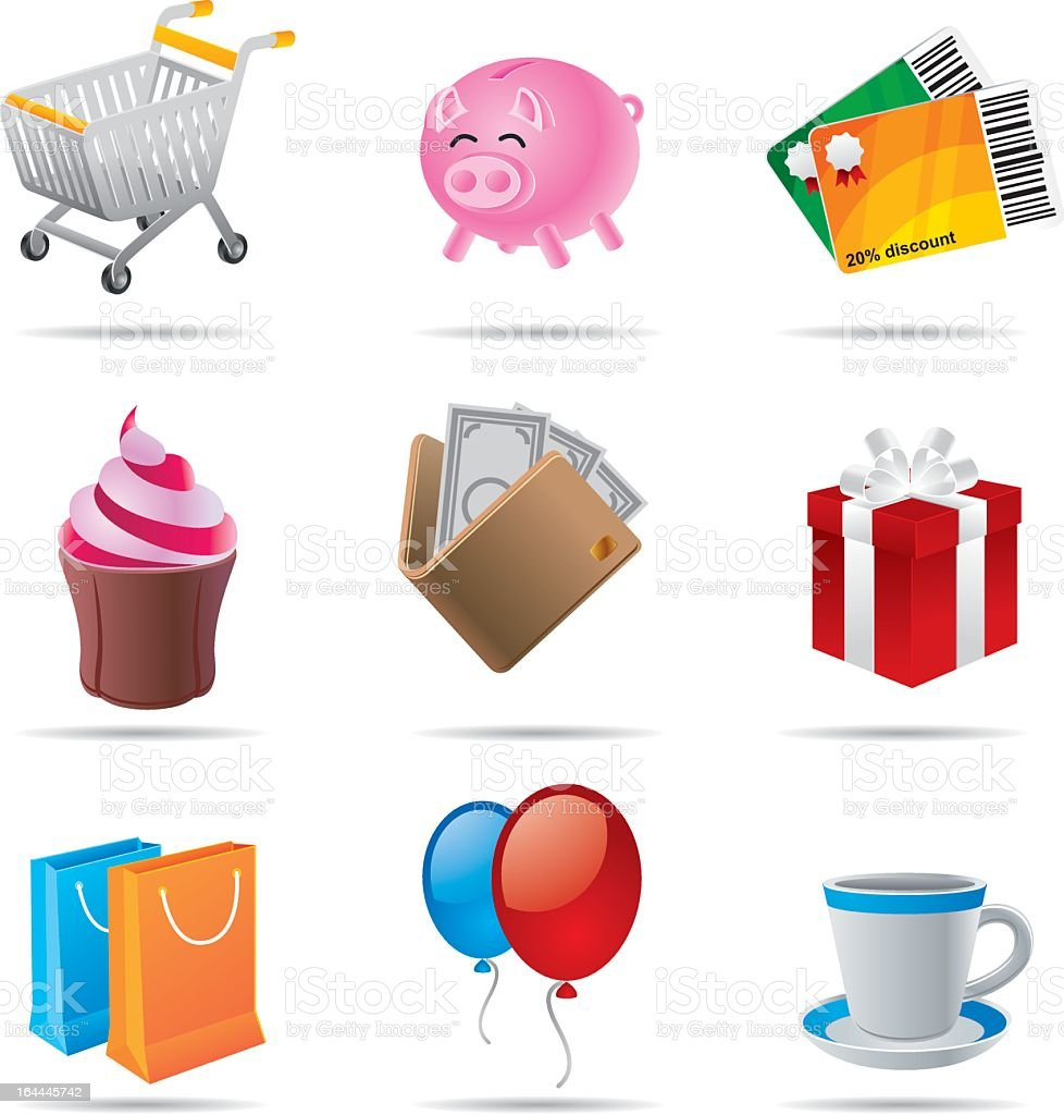 Shopping icons set royalty-free stock vector art