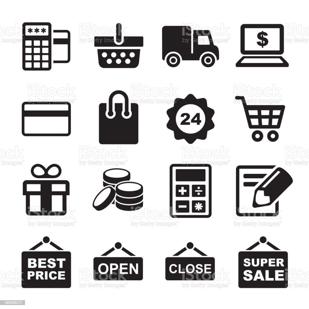 Shopping icons set royalty-free stock vector art