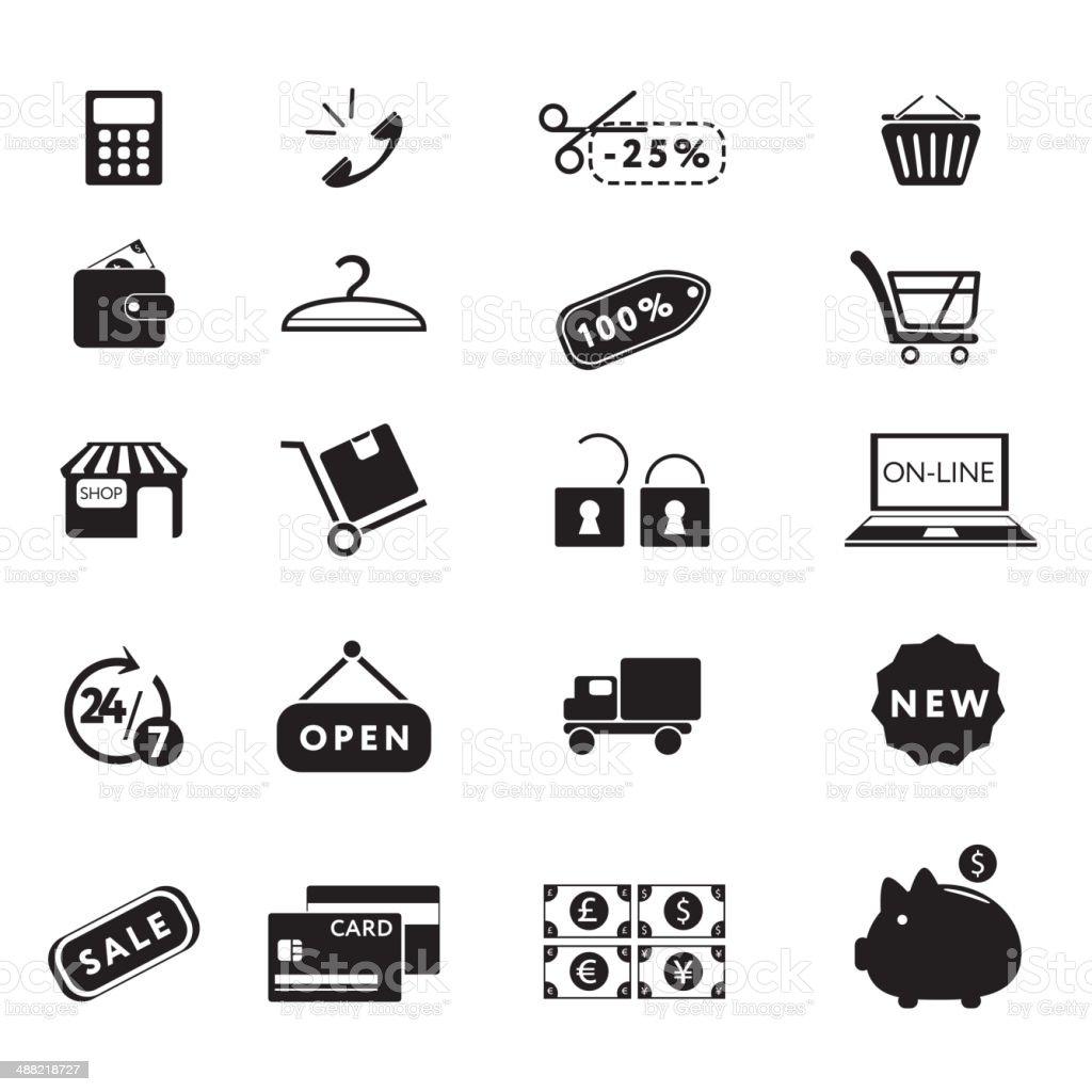 Shopping icons set vector art illustration