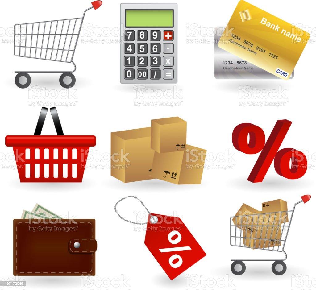 Shopping icons set. Vector illustration royalty-free stock vector art