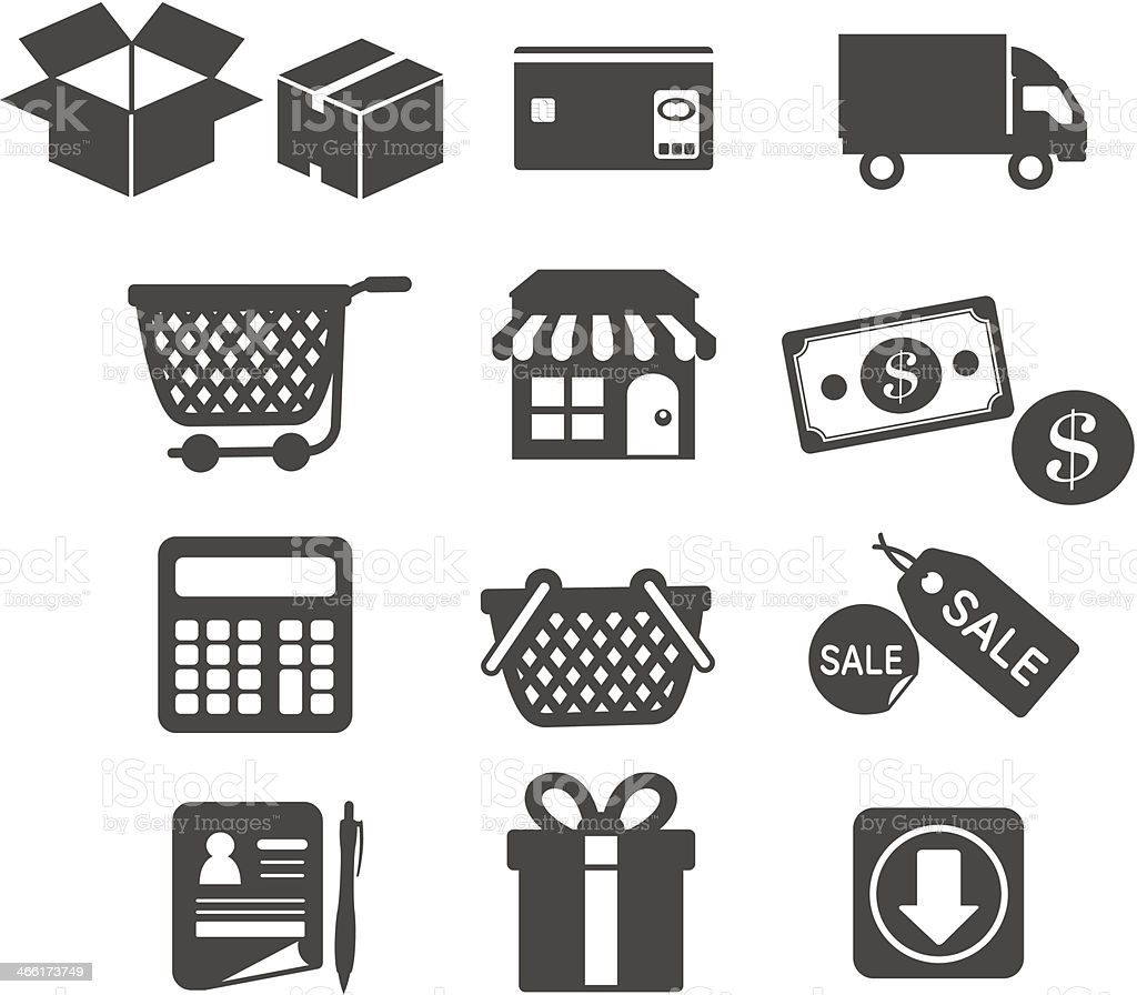 Shopping icons set  Vector vector art illustration