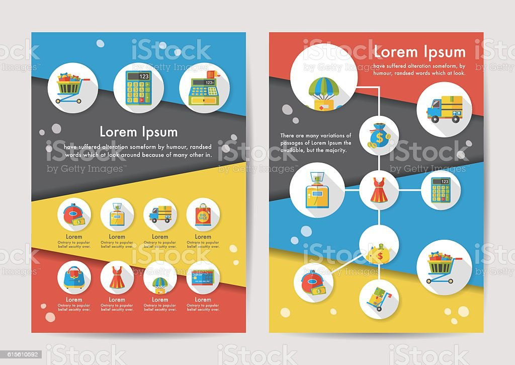 Shopping icons set with long shadow,eps10 vector art illustration