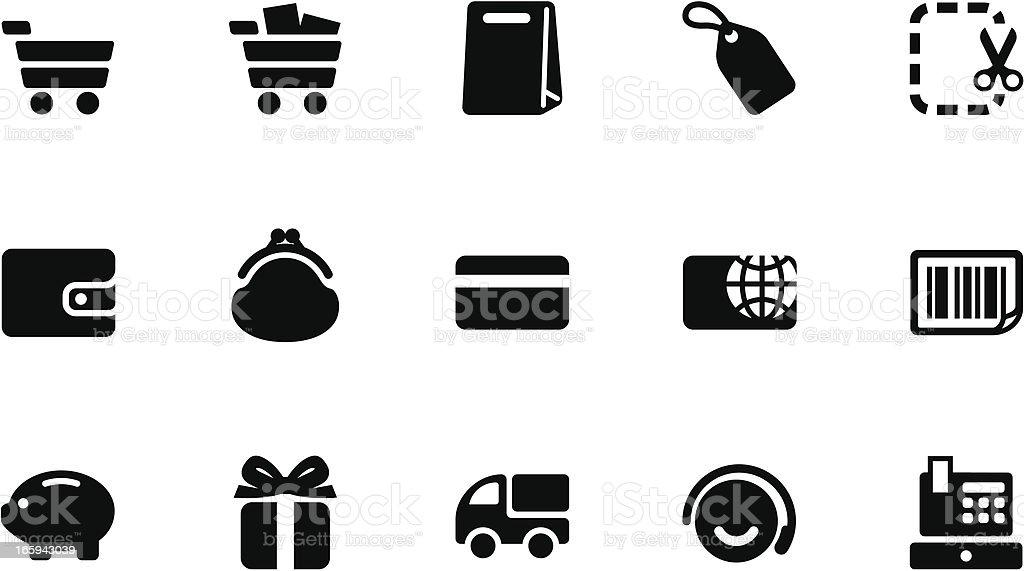 Shopping icons . Simple black vector art illustration