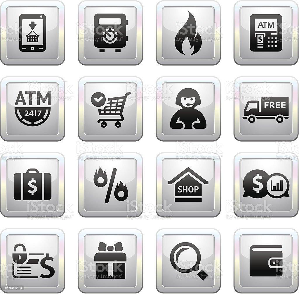 Shopping icons. square gray. Web 2.0 royalty-free stock vector art