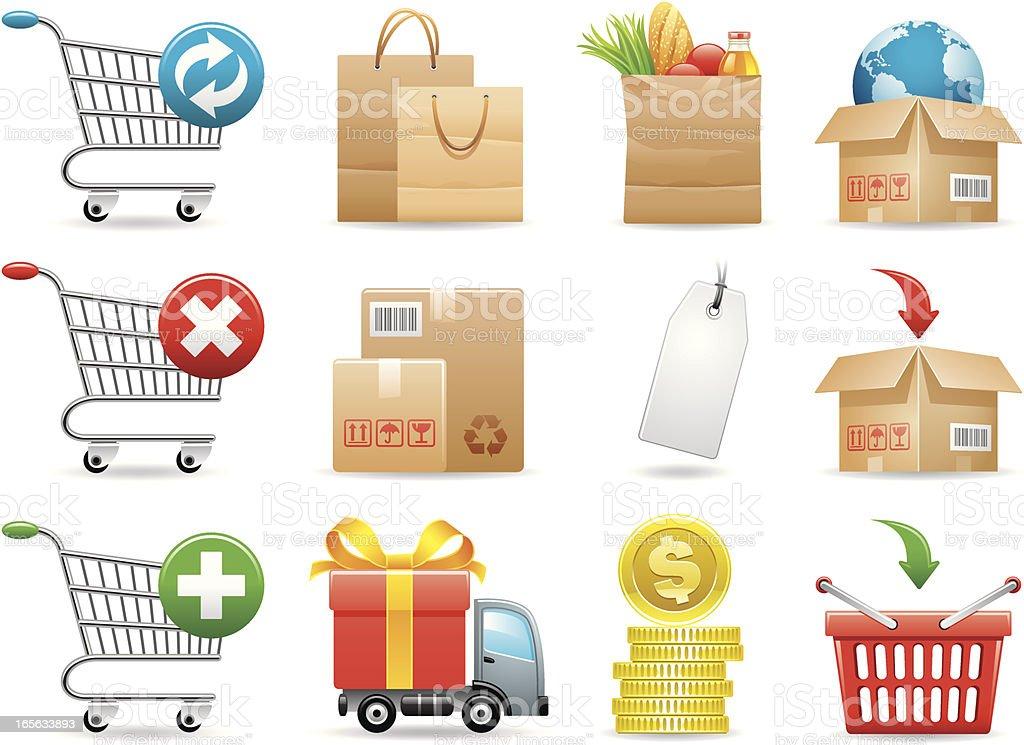 Shopping icons vector art illustration