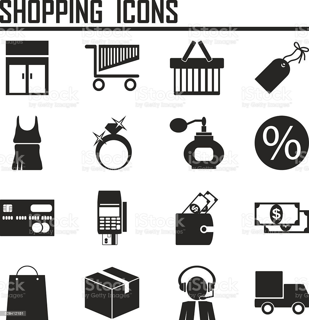 Shopping icons vector art illustration