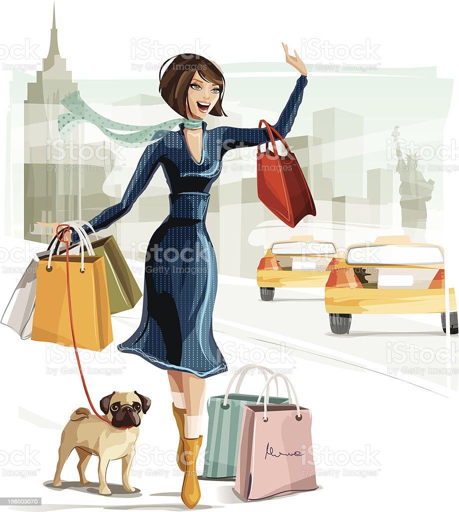 Shopping in New York vector art illustration