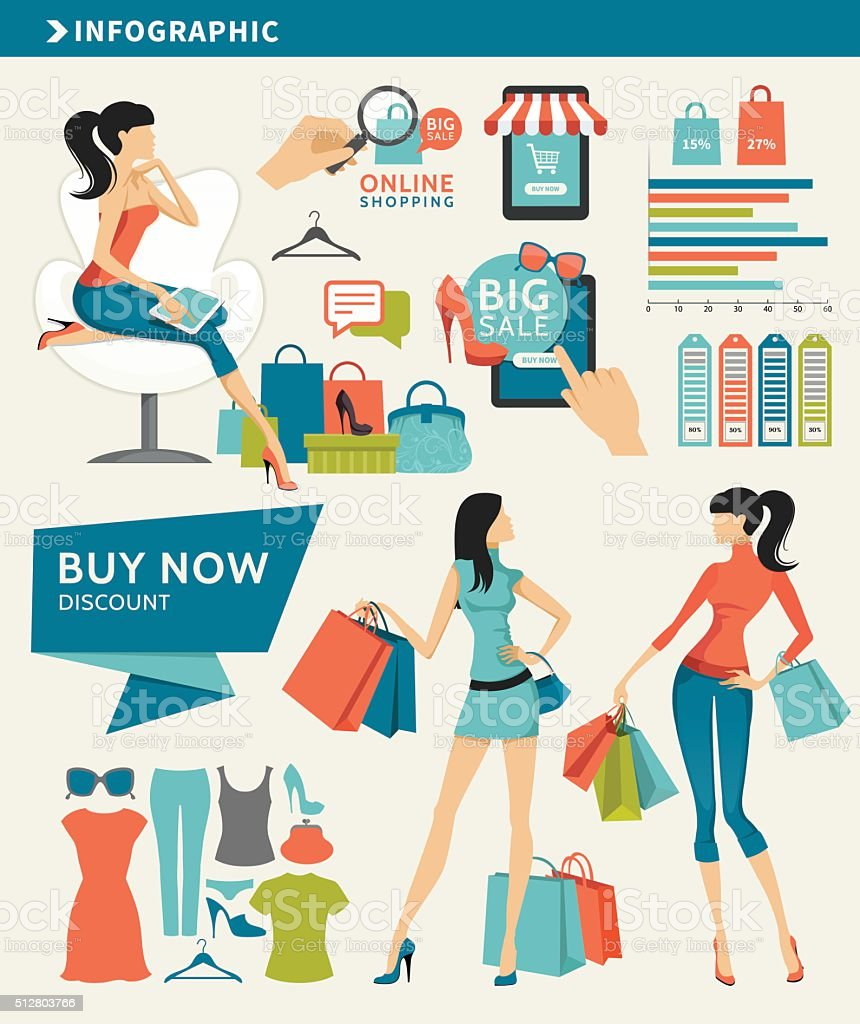 Shopping Infographic Elements vector art illustration
