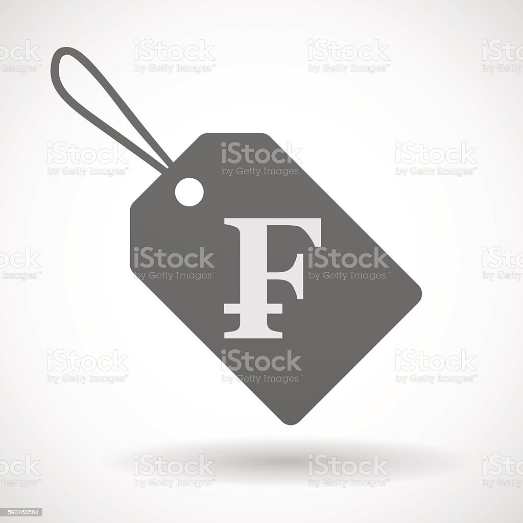 Shopping label icon with a swiss frank sign vector art illustration