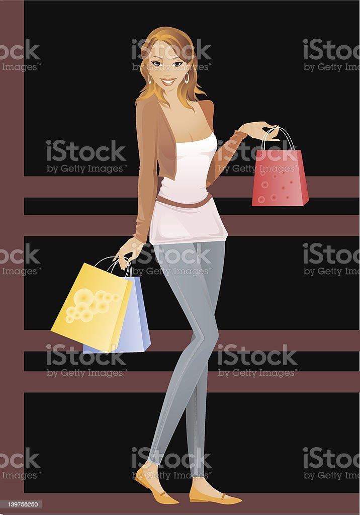 Shopping Lady vector art illustration