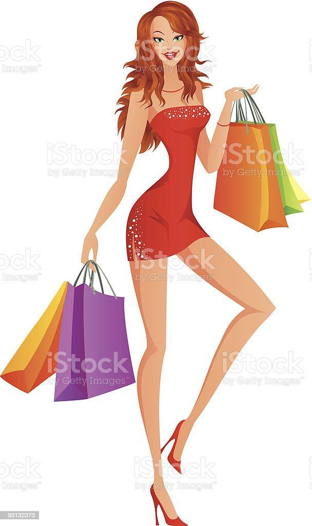 Shopping lady royalty-free stock vector art