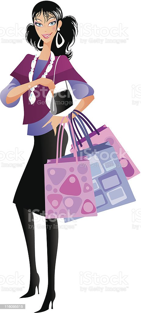 Shopping lady with purse royalty-free stock vector art
