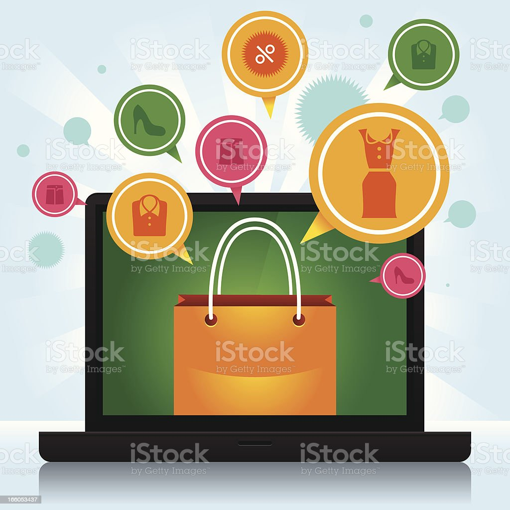 Shopping laptop royalty-free stock vector art