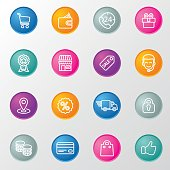Shopping Line Circle Color Icons