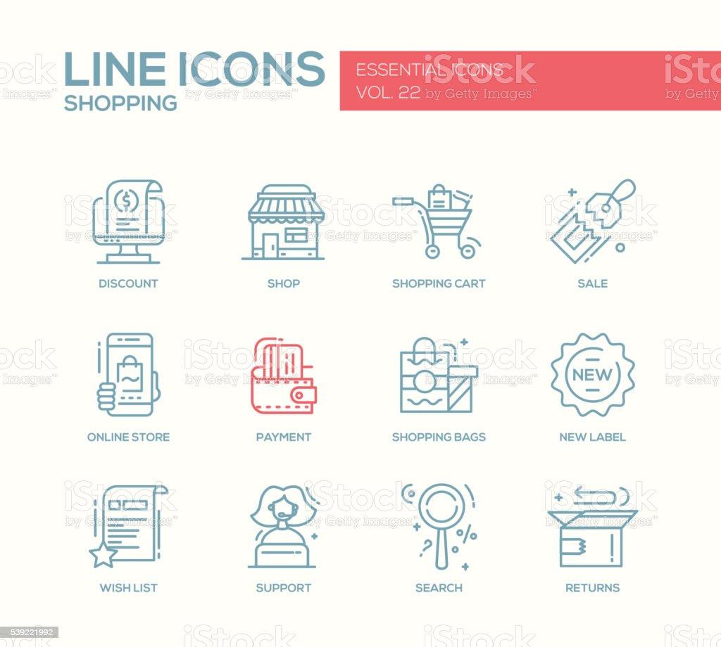 Shopping - line design icons set vector art illustration