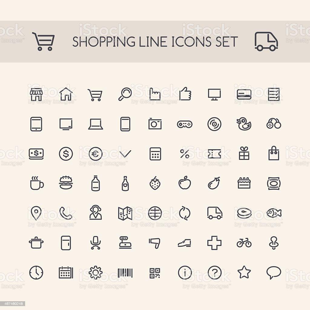 Shopping Line Icons Set Black vector art illustration