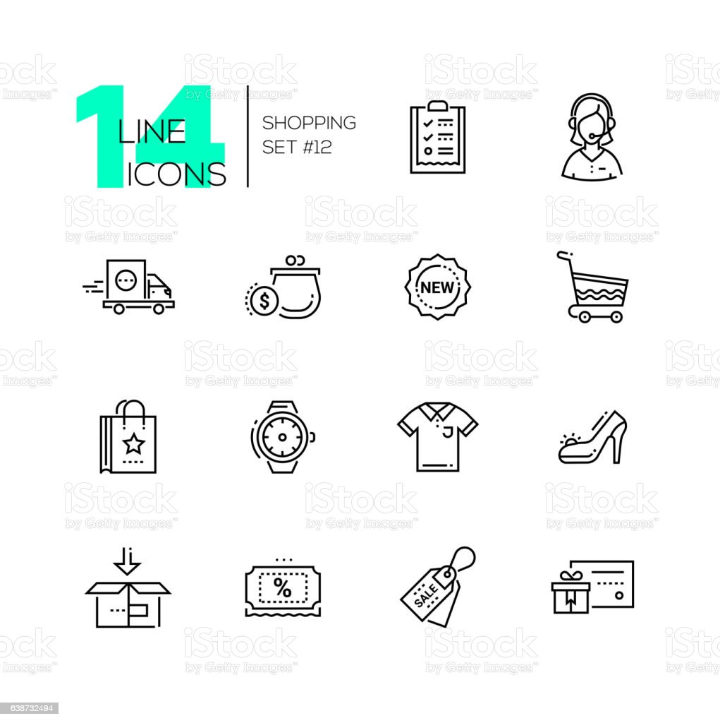 Shopping - line icons set vector art illustration